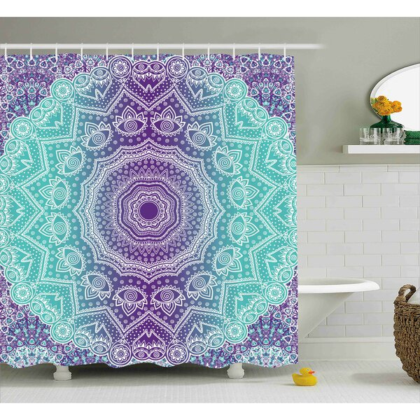 Janie Purple and Turquoise Hippie Ombre Mandala Inner Peace and Meditation With Ornamental Art Shower Curtain by Ebern Designs