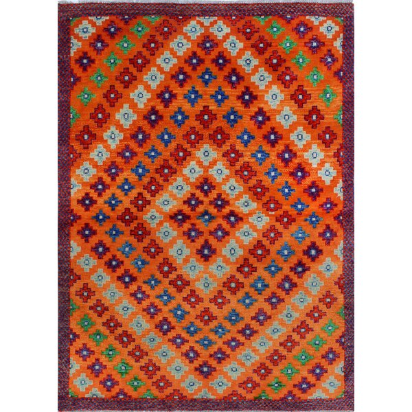 One-of-a-Kind Millender Alake Hand-Knotted Wool Orange Area Rug by Bloomsbury Market