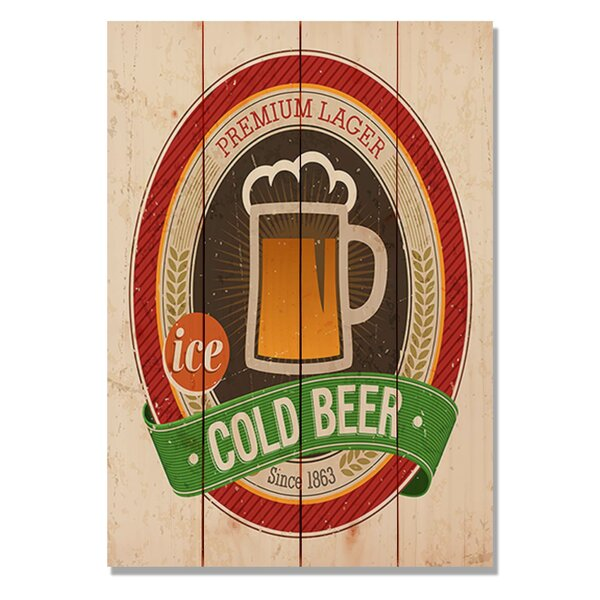 4 Piece Wile E. Wood Cold Beer Vintage Advertisement Set by Gizaun Art