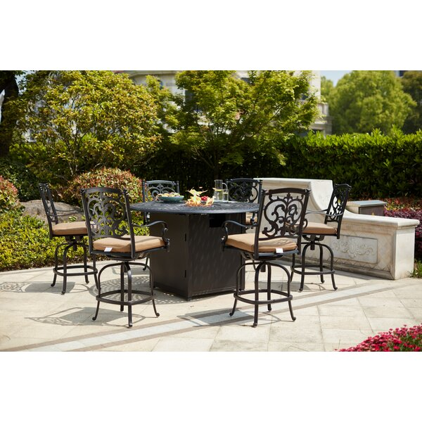 Baugher 7 Piece Bar Height Dining Set with Cushions and Firepit by Fleur De Lis Living