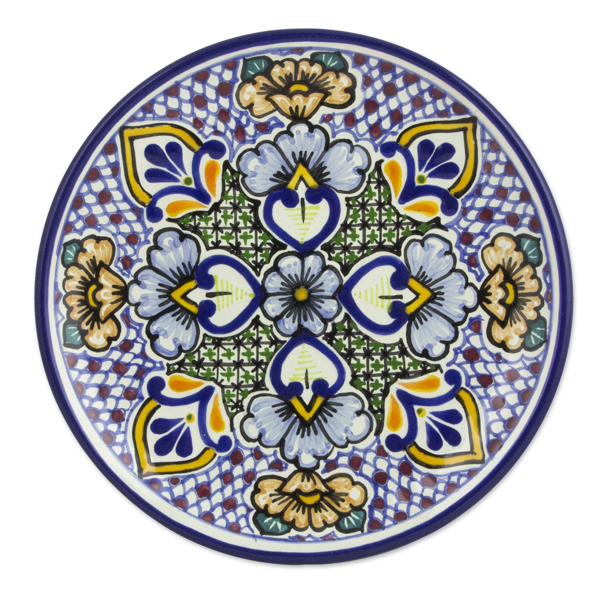 Novica Alonso Luis Mexican 8  Talavera Floral Ceramic Dessert Plates (Pair) | Wayfair  sc 1 st  Wayfair & Novica Alonso Luis Mexican 8