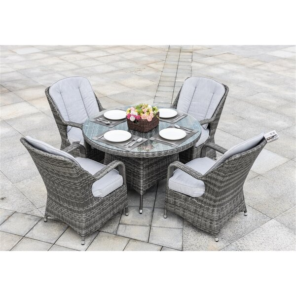 Moira Recliner Patio Chair with Cushions (Set of 2) by Rosecliff Heights