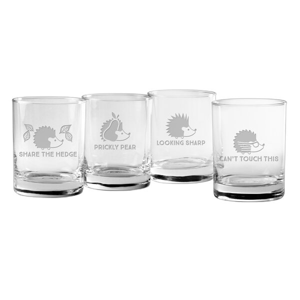 4 Piece Hedgehog Humor 14 oz. Old Fashioned Glass Set by Susquehanna Glass