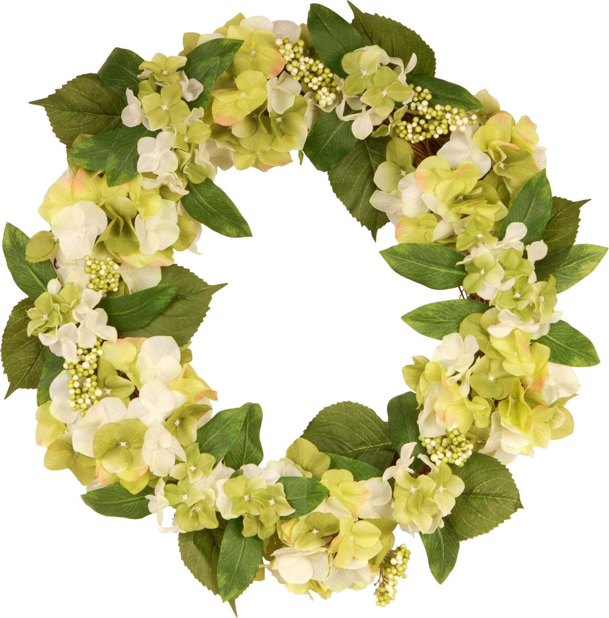 """Cream//Lavender 24/"""" Silk Hydrangea /& Rose Flower Hanging Wreath"""