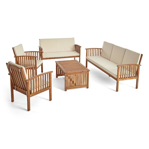 Brice Outdoor 5 Piece Sofa Seating Group with Cushions by Longshore Tides