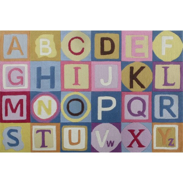 Hayslett ABCs Hand-Tufted Pink/Blue Area Rug by Zoomie Kids