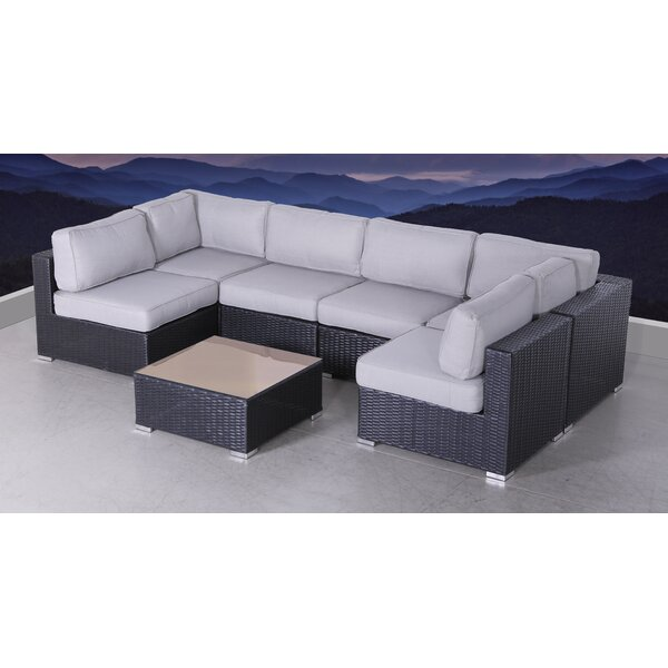 Bannerman 7 Piece Sectional Seating Group with Cushions by Latitude Run