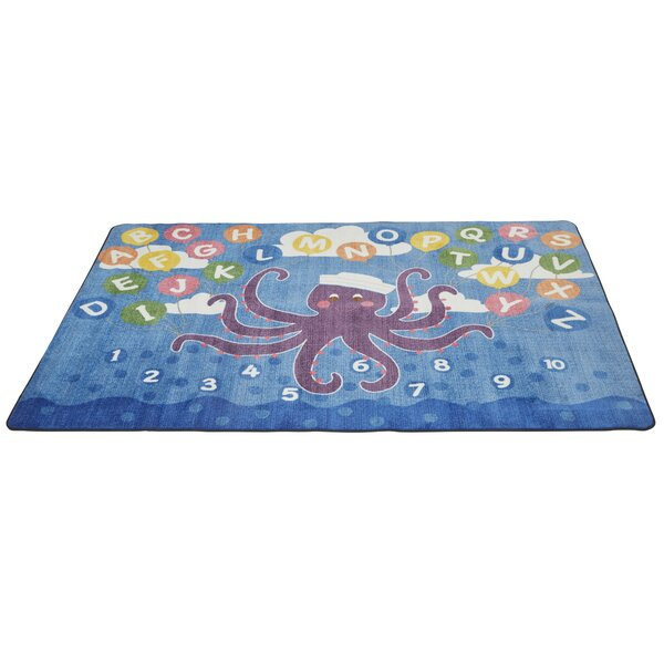 Olive the Octopus Blue Area Rug by ECR4kids