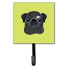 Checkerboard Pug Leash Holder and Wall Hook by Caroline's Treasures