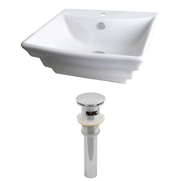 Ceramic 20 Wall Mount Bathroom Sink with Overflow by American Imaginations