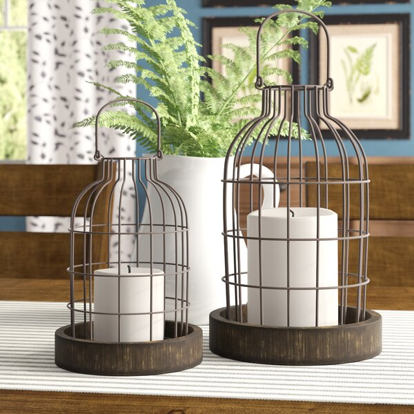 Donna 2 Piece Metal/Wood Cloche Lantern Set by Gracie Oaks