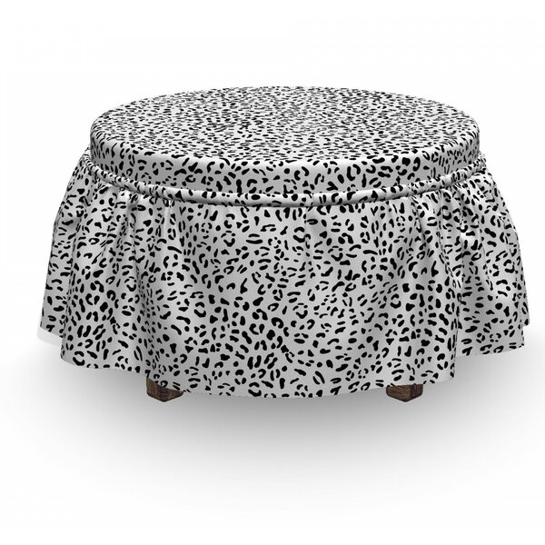 Monochrome Leopard Ottoman Slipcover (Set Of 2) By East Urban Home