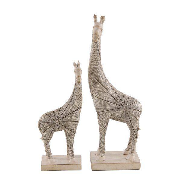 Hayse Eclectic Giraffe Resin 2 Piece Figurine Set by World Menagerie