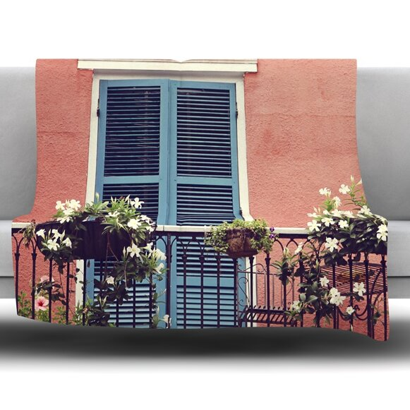 New Orleans Balcony by Sylvia Cook Fleece Blanket by East Urban Home