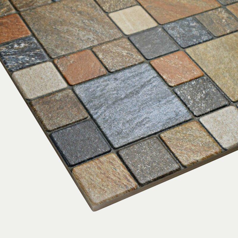 "12.25"" x 12.25"" Porcelain Mosaic Tile in Por Rustico"