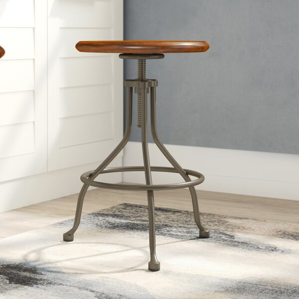 Berger Round Adjustable Height Swivel Bar Stool by Williston Forge