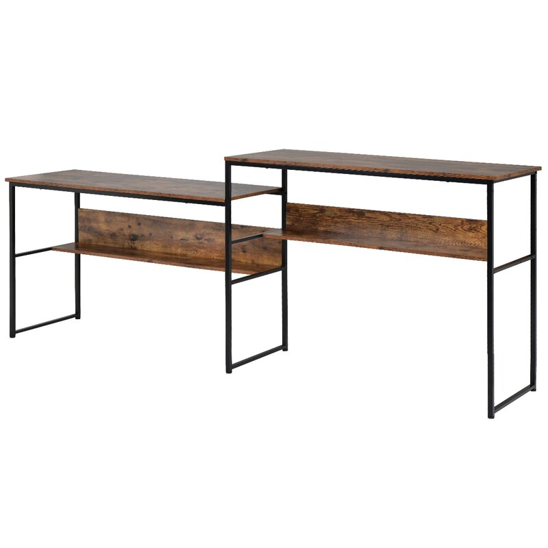 17 Stories Home Office Two Person Desk Double Workstation Office Desk Writing Study Desk 94 4 X 19 7 Inch Extra Large Computer Desk With Open Storage Shelves Wayfair Ca