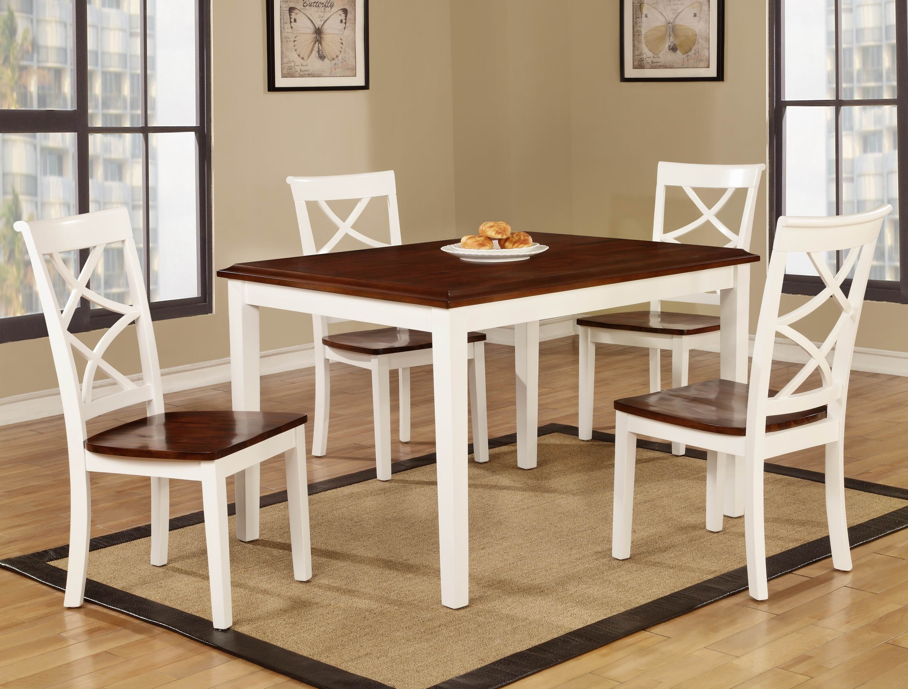 Roundhill Furniture Baum Two Tone Solid Wood 5