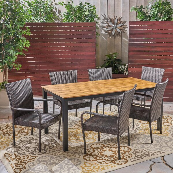 Meiners 7 Piece Teak Dining Set by Gracie Oaks