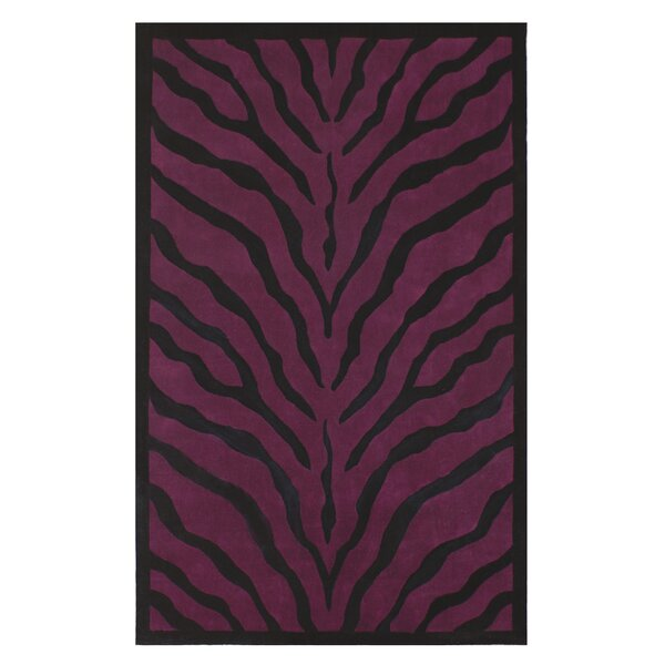 African Safari Purple/Black Zebra Print Area Rug by American Home Rug Co.