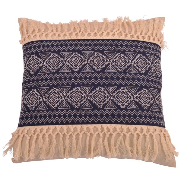 Orellana Embroidered Natural Fringe Throw Pillow by Bungalow Rose