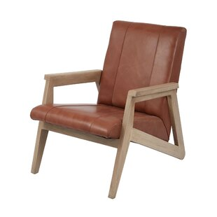 Yellow Pine Leather Armchair by Loon Peak