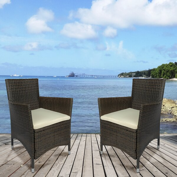 Chole Patio Dining Chair with Cushion (Set of 2) by Latitude Run