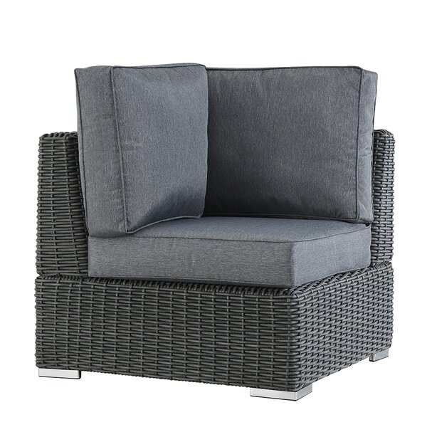 Crowley Wicker Outdoor Sectional Corner Chair with Cushion by Sol 72 Outdoor
