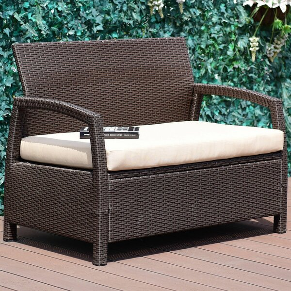 Leeman Outdoor Rattan Garden Bench by Ebern Designs