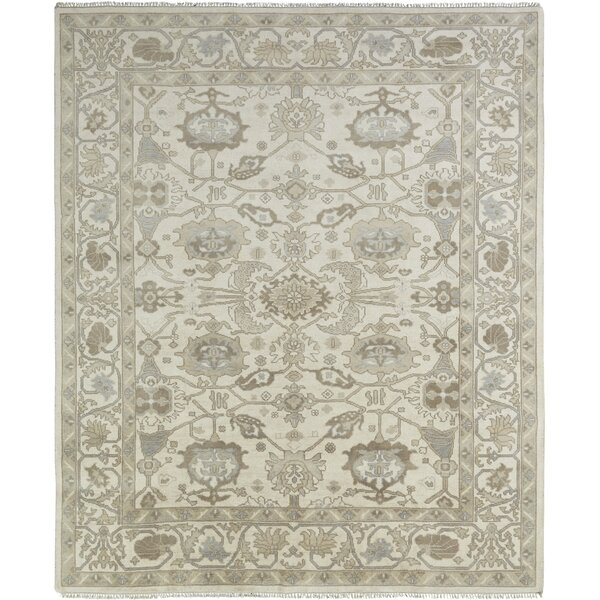 Leah Hand Knotted Wool Ivory Area Rug by Darby Home Co