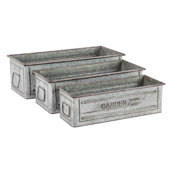 3-Piece Galvanized Planter Box Set by Cole & Grey