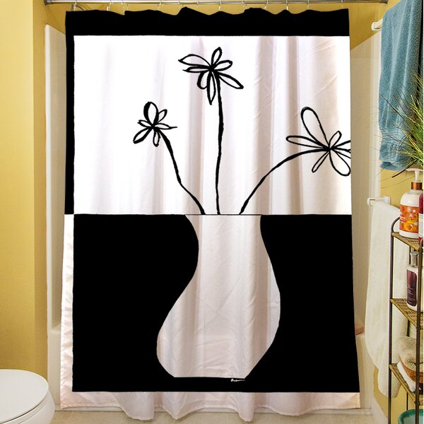 Minimalist Flower in Vase IV Shower Curtain by Manual Woodworkers & Weavers