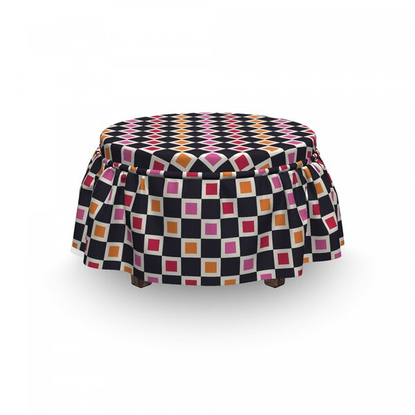 Geometric Grid Vivid Squares 2 Piece Box Cushion Ottoman Slipcover Set By East Urban Home