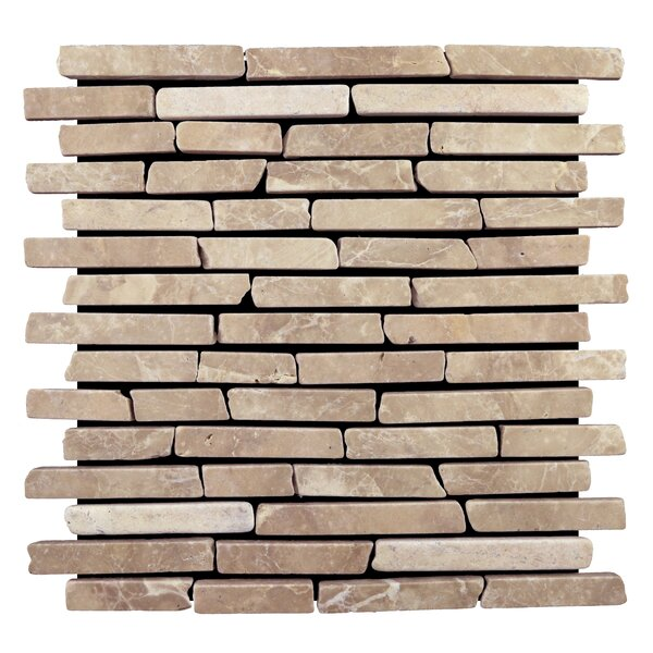 Natural Stone Sticks Random Sized Mosaic Tile in Tan by Pebble Tile
