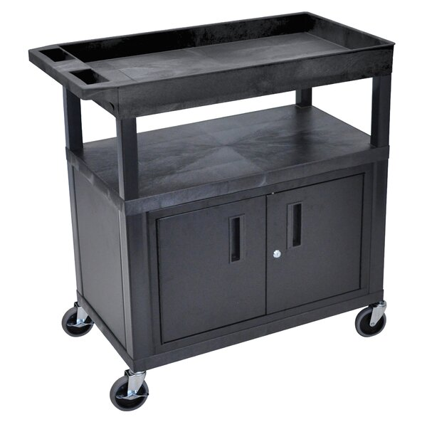 E Series AV Cart with 2 Tub/1 Flat Shelves and Cabinet by Luxor