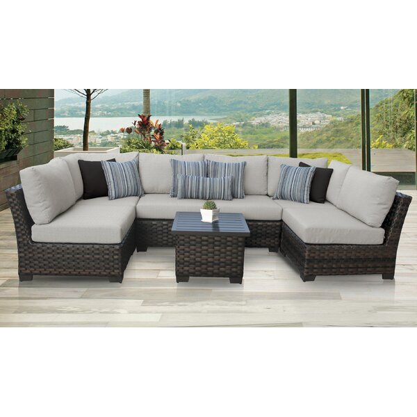 kathy ireland Homes & Gardens River Brook 7 Piece Outdoor Wicker Patio Furniture Set 07c by kathy ireland Homes & Gardens by TK Classics