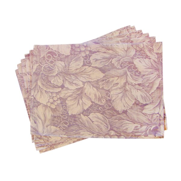 Lined Jacquard Floral Placemat (Set of 6) by Textiles Plus Inc.