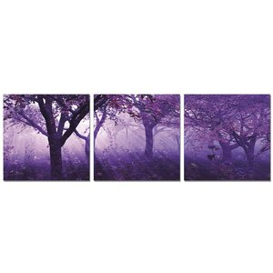 Purple Trees 3 Piece Photographic Print Set by Furinno
