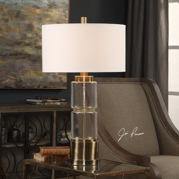 Bethnal Glass Column 31 Table Lamp by Canora Grey