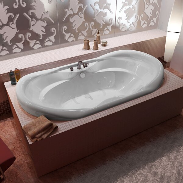 Antigua 70 x 41 Oval Air & Whirlpool Jetted Bathtub with Waterfall and Center Drain by Spa Escapes