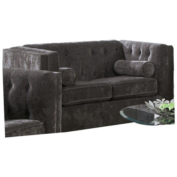 Modern Style Dalila Chesterfield Wood Frame Loveseat Sweet Spring Deals on