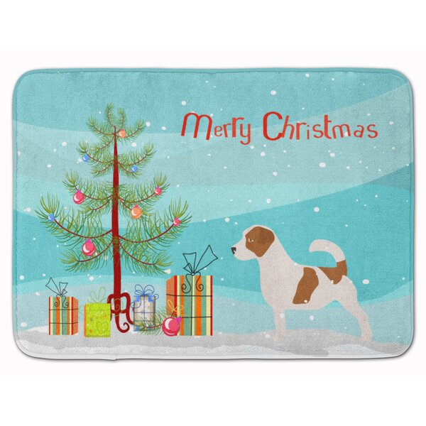 Jack Russell Terrier Christmas Tree Rectangle Microfiber Non-Slip Bath Rug