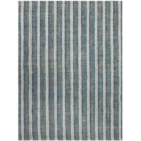 Roane Striped Hand-Woven Teal Area Rug by Highland Dunes