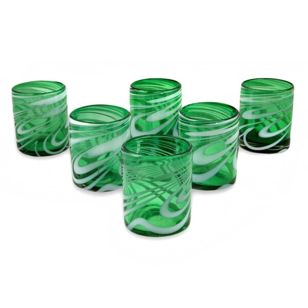 Stoneking Whirling Emerald 11 oz. Blown Every Day Glasses (Set of 6) by Red Barrel Studio