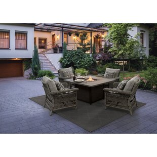 5 Piece Prescott Aluminium Bio-ethanol Fuel Outdoor Fireplace Set By Jeco Inc.