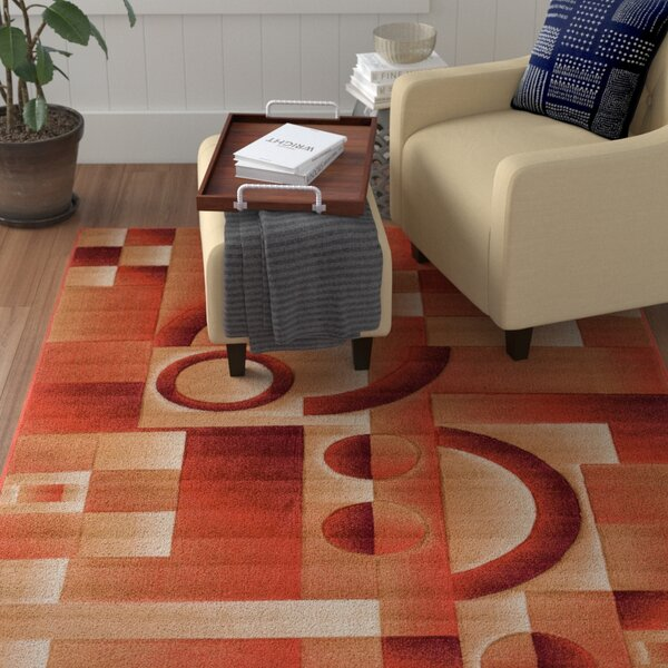 Atherton Modern Geometric Squares Orange Area Rug by Winston Porter