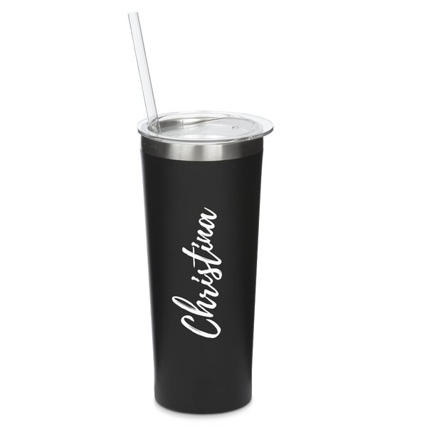 Stannard Personalized Calligraphy Print 22 oz. Stainless Steel Travel Tumbler by Ebern Designs