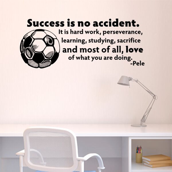 Success Is No Accident Soccer Ball Wall Quotes™ Decal by Belvedere Designs LLC