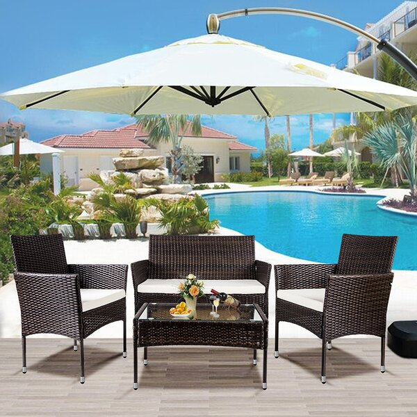 Hounshell Outdoor 4 Piece Rattan Sofa Seating Group with Cushions by Brayden Studio Brayden Studio