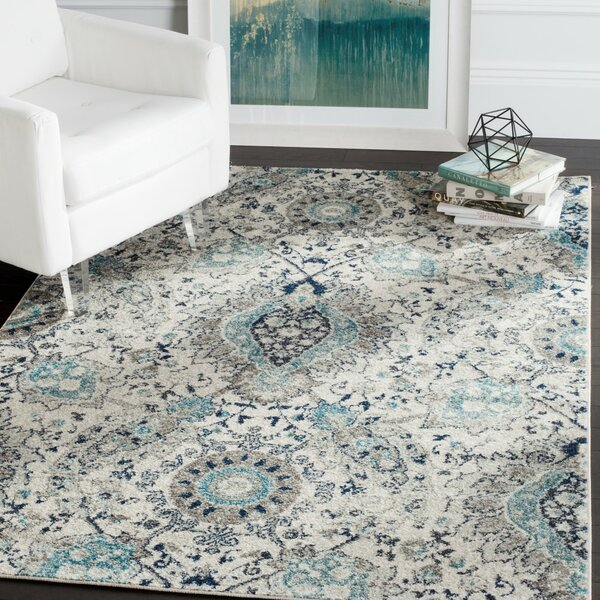 Grieve Light Gray/Cream Area Rug by Bungalow Rose